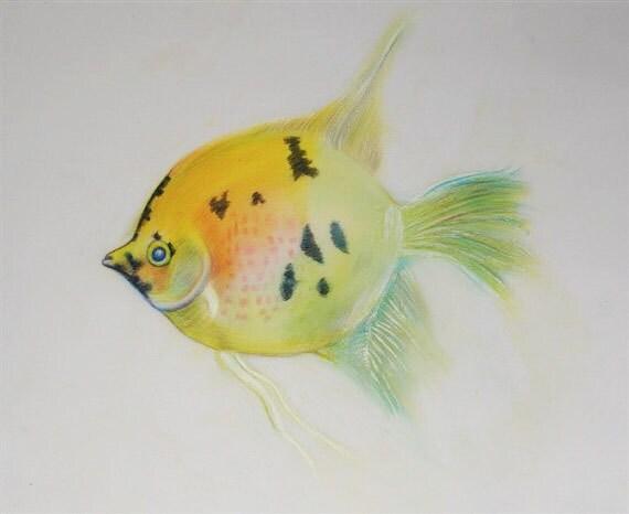 Items similar to tropical fish watercolor painting fish for Tropical fish painting