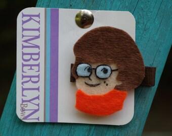 Velma from Scooby Doo Felt Hair Clip