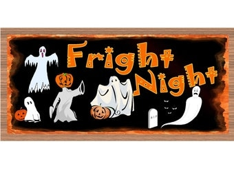 Halloween Wood Signs - Fright Night Halloween plaque GS 1525 GiggleSticks Halloween