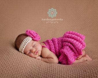 Baby Dress, Baby Girl Dress, Newborn Dress Photo Prop, Baby CROCHET Dress, Girl Dress, , photo prop baby hat