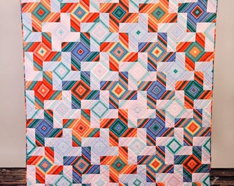 "Hand Quilted 60"" by 70 "" geometric tesselating pinwheel lap quilt or wall hanging"
