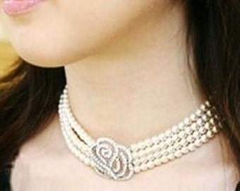Bridal Creamrose Lt Cream Pearl Rhinestone Crystal Rose Choker Necklace Set