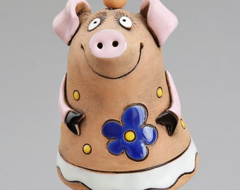 Ceramic Pig Bell, The Pig with Flower, Kids toy, School Accessories