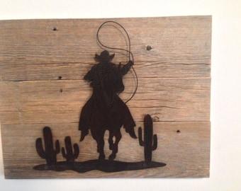 Reclaimed Wood Cowboy Cactus Plaque