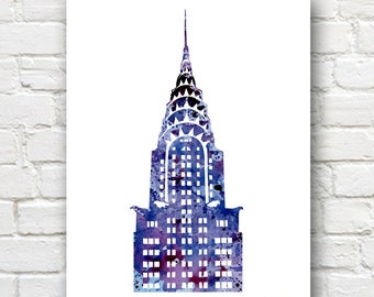 New York City Painting - Chrysler Building Art Print - Abstract Watercolor - Wall Decor