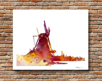 Dutch Windmill Art Print - Abstract Watercolor Painting - Wall Decor