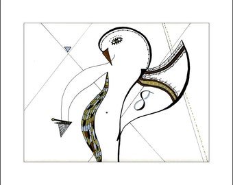 """8x10 print from original ink """"Thursday's Child"""" _ energetic abstract bird art_ It's Only Black And White Oregon artist Loree Harrell"""