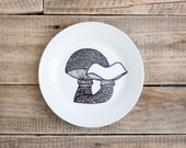 "Handpainted Dessert Plate ""Shrooms"""