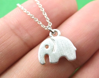 Elephant Silhouette Shaped Pendant Necklace in Silver  | Handmade Animal Jewelry