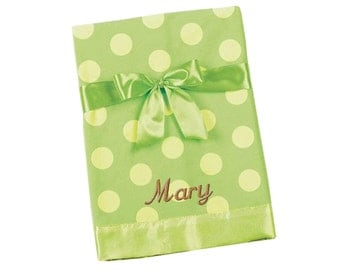 Green Yellow Polka Dot Snuggle Soft Baby Blanket - Personalized Embroidery