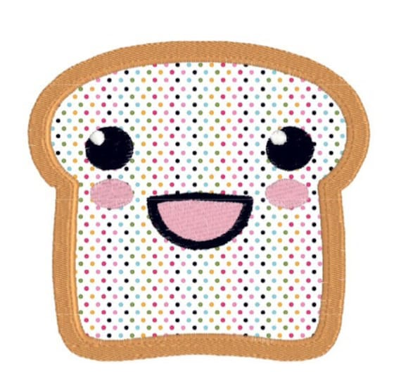 Machine Embroidery Design Kawaii Happy Face Toast Applique, Happy Face Bread Applique in 3 sizes, 4x4, 5x7, 6x10