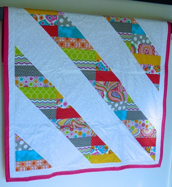 Bright Color Baby Quilts: Homemade Baby Quilt Crib Bright Colors Girl By WeeOnesStitches