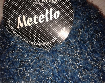 Filatura Di Crosa Metello Designer Blue Jean Blue and silver metaliic yarn