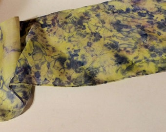 Hand Dyed and Painted Silk Habotai hair band in pale yellow and blue