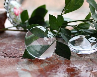 Round Clear Glass Cabochons 30mm