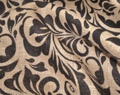 Small DAMASK Leaf Printed Burlap 100% Jute by the yard