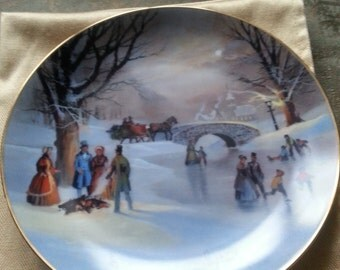 LAST CHANCE SALE!! Vintage Lloyd Garrison Holiday Skaters plate