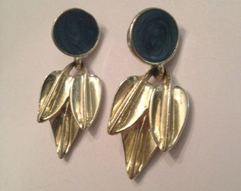 Vintage Blue Enamel Gold 1980s earrings Costume Jewelry