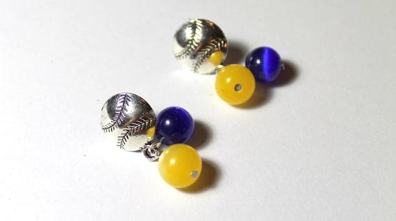 Baseball Beaded Dangle Earrings - Handmade Earrings; Baseball Earrings; Choice of Team Colors; Baseball Fan; School Colors; Team Spirit