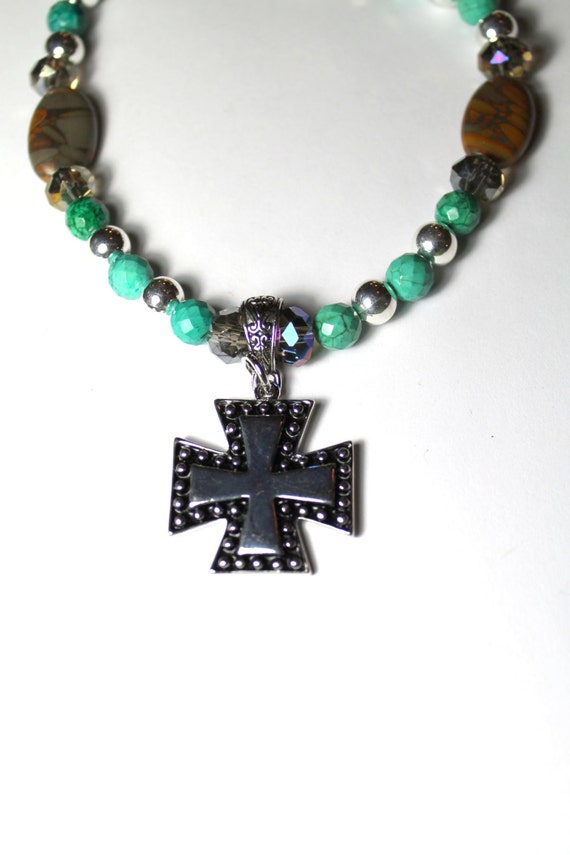 Handmade Dyed Turquoise, Agate and Silver Beaded Necklace with Silver Cross Pendant, Elegant Necklace, Southwestern Style, Assemblage