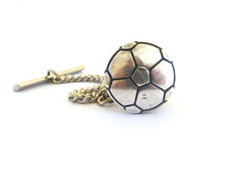 Soccer Ball Tie Tack- Sterling Silver Ox Finish- Gifts For Men