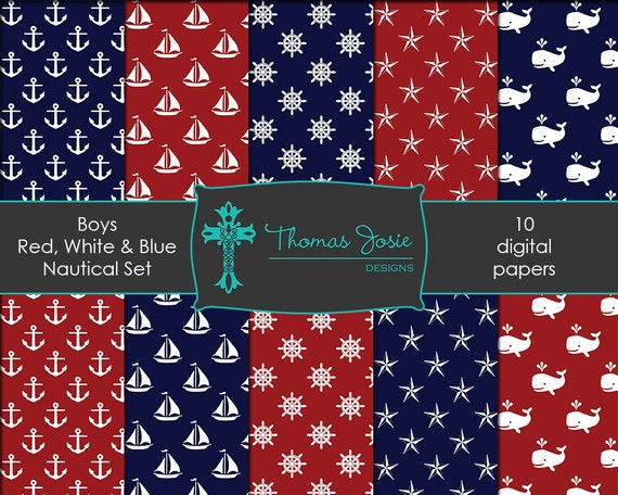 Nautical Digital Paper Nautical Party Nautical Background Nautical Paper Boy Party Paper Red White and Navy Blue 8.5 x 11 - Instant Download