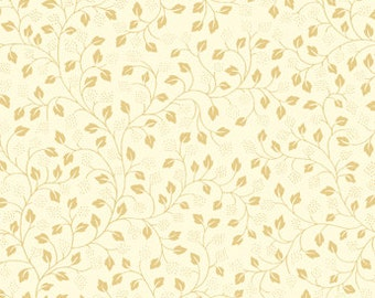 Quilting Treasures Metallic Gold Leaf Texture on Beige on White Quilting Cotton 1 Yard