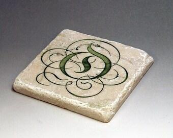 Monogrammed Tumbled Marble Tile Coaster