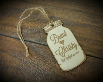Country mason jar laser engraved Christmas Ornament  painted wedding gift anniversary