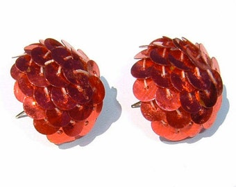 80s Crimson Red SEQUIN Button shaped Pierced Earrings