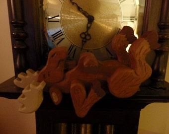 Wooden moose shelf sitter 2