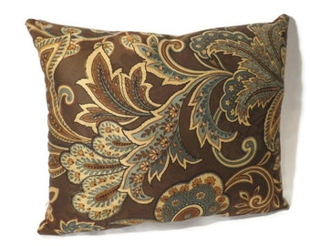 Brown Paisley Throw Pillow w/ 100% Combed Cotton  Dual-sided w/ stripes