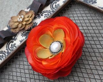 Flower Hair Clip-Toddler Flower Hair Clip-Bridal Flower Clip-Orange/Pearl