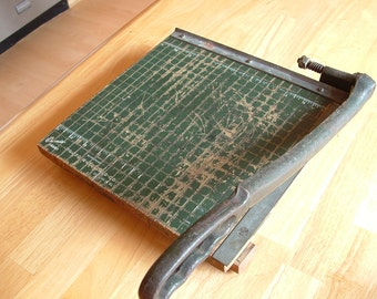 Paper Cutter Industrial Blade Guillotine Cleaver Slicer 1950s Rustic Decor Premier Brand Chicago