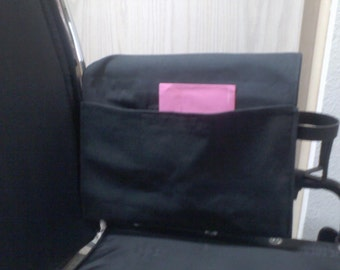 Wheelchair Armrest Pouch/Bag or Walker. Denim cloth, large pocket with Velcro closure.