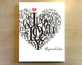 Instant Download - Typography All you need is love print - A4 - jpeg and pdf file