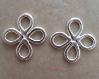 4 sterling silver link connectors with 4 loops