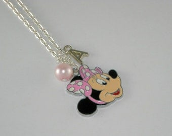 Minnie Mouse personalized childrens necklace, minnie mouse charm necklace, childrens jewelry, girls necklace, charm jewelry for girls