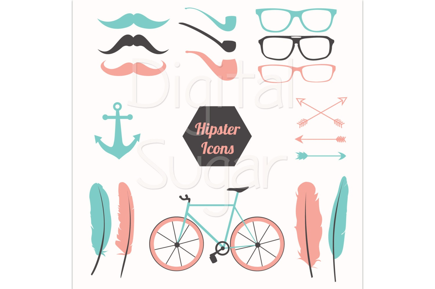 Hipster Glasses Frames Clip Art Hipster clipart feather vector