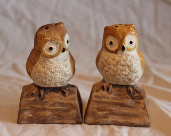 Vintage set of porcelain owl salt & pepper shakers