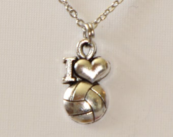 4 Styles volleyball necklace with volleyball charm in antique silver plated metal on 1mm metal chain.