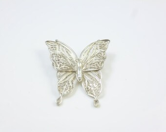 Silver Butterfly Brooch, Filigree Brooch, Vintage