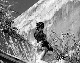 Black and white photography: statue on old building rooftop garden. Rustic textural walls, shabby chic. Relaxing art. Nice Mothers Day gift.