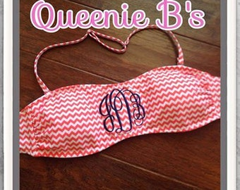 Coral Chevron Monogram Bandeau Swimsuit Top