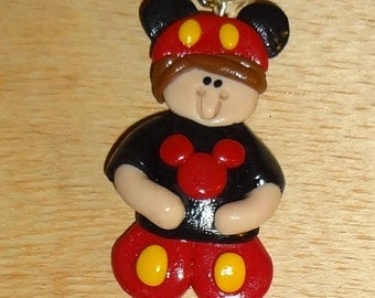 Personalized Child Polymer Clay Pendant/Ornament/Brooch in Mickey Mouse Inspired Costume