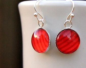 Starbucks Jewelry, Coffee Earrings, Red Earring, Stripes, Dangle Earrings, Ecofriendly Jewelry, Upcycled Earrings
