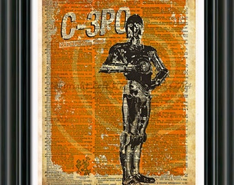 Star Wars - C3PO -  Vintage Silhouette print  - Retro Star Wars Art - Dictionary print art