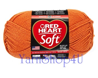 TANGERINE 5oz Orange Red Heart Soft Yarn. A medium worsted weight Solid Orange Acrylic Yarn in a large ball with 256yds. No Dye Lot.