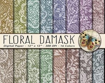 Damask Digital Paper, Burlap Damask Digital Paper, Fabric Damask Paper, Vintage Burlap Digital Paper, Vintage Damask Paper