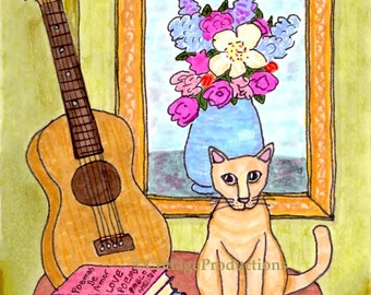 Cat and Ukelele greeting card and envelope, approx 5 x 7, blank inside